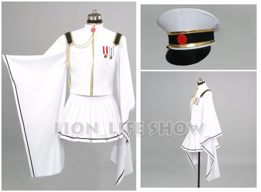 Vocaloid Hatsune Miku Senbon Sakura White Miku Cosplay Costume With hat gloves