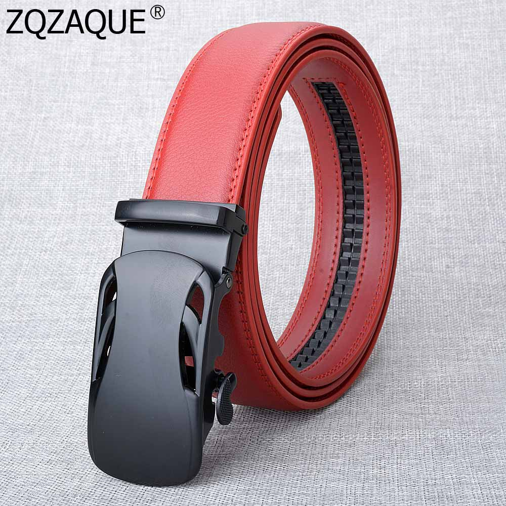 Solid Black Color Auto Buckle Boy Jeans Belts Fashion Cool Mens Business Waistbands Cow Leather Quality Girdles Cintos SY1712