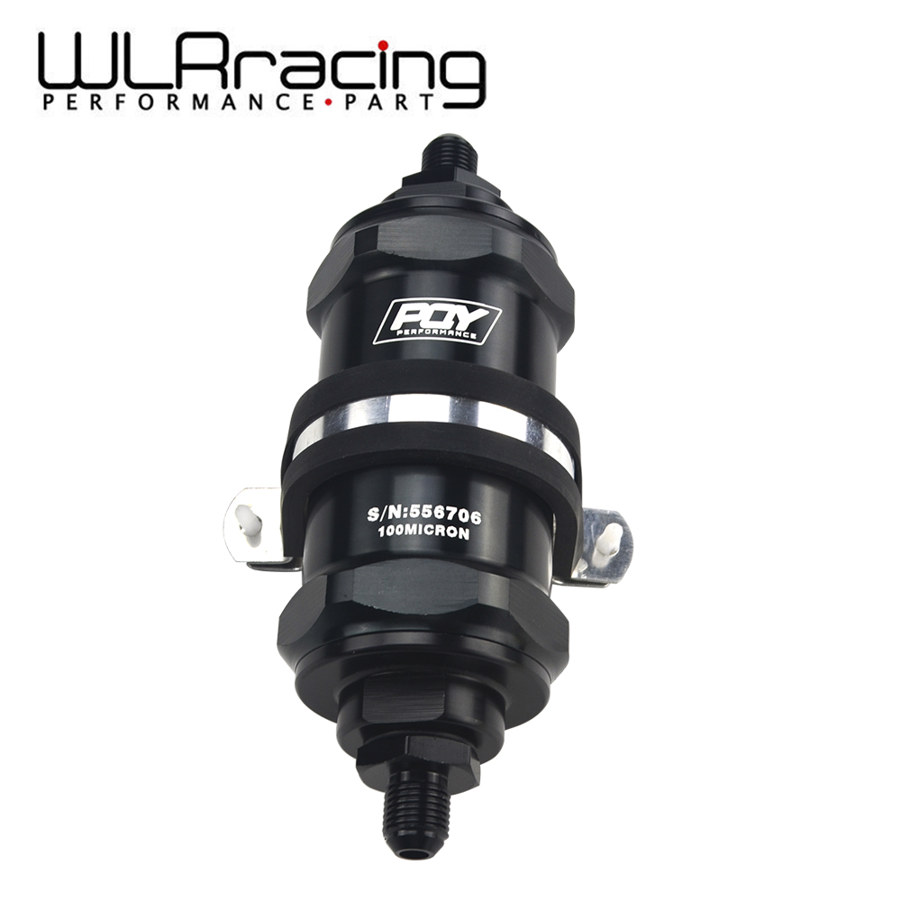 WLR RACING - PQY BLACK AN6 / AN8 / AN10 Inline Fuel Filter E85 Ethanol With 100 Micron Stainless steel element and PQY stickerWLR RACING - PQY BLACK AN6 / AN8 / AN10 Inline Fuel Filter E85 Ethanol With 100 Micron Stainless steel element and PQY sticker