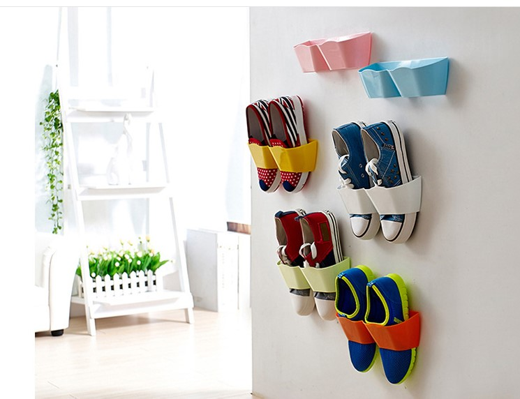 Fashion Creative Wall Hung Shoe Rack 4pieces Lot Hanger Store Shoes Hallway In Living Room Organizer Storage Holder 2016 Newest Holders Racks