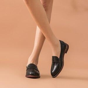 Image 4 - Beautoday Klassieke Vrouwen Penny Loafers Schapenvacht Lederen Puntschoen Moccasin Flats Zwarte Kleur Plus Size Schoenen Handgemaakte 2701310