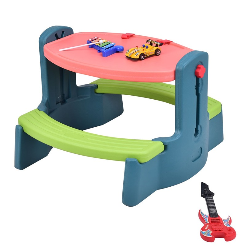 Plastic Height Adjustable 2-in-1 Children Drawing Table Chair Set Multi-function And Durable Drawing Table Colorful Look OP3233