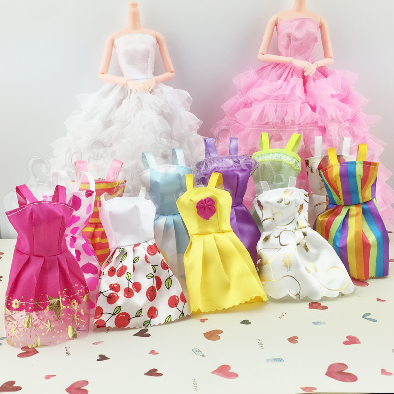 5 Pcs Lot Dolls Clothes Skirt Evening Dress Princess Clothing Miniskirt For Baked Dolls Doll