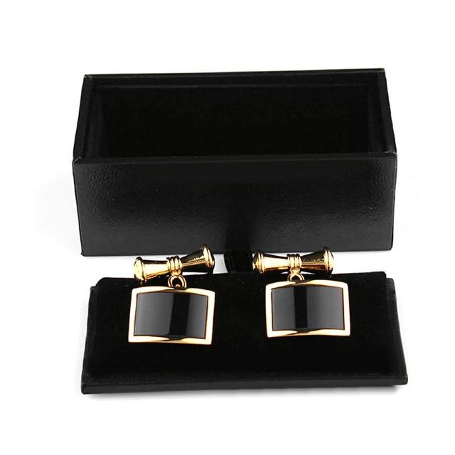1pcs New Men Cufflinks Tie Clip Ring Storage Box Faux Leather Organizer  Display Cuff Case