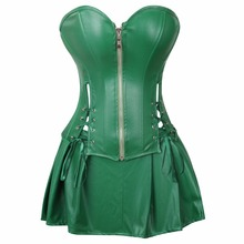 1a2ff82ace Red Black PU Leather Corset Bustier Dress Set Overbust Sexy Lingerie Women Lace  Up Corselet Tops