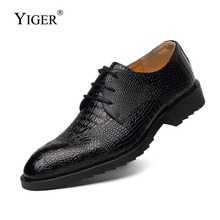 YIGER New Men Dress shoes Genuine Leather Business man shoes Pointed Toe Lace-up Men Wedding shoes Black/Brown    0074 northmarch new brand genuine leather men oxfod shoes lace up casual business wedding shoes men pointed toe comfort shoes