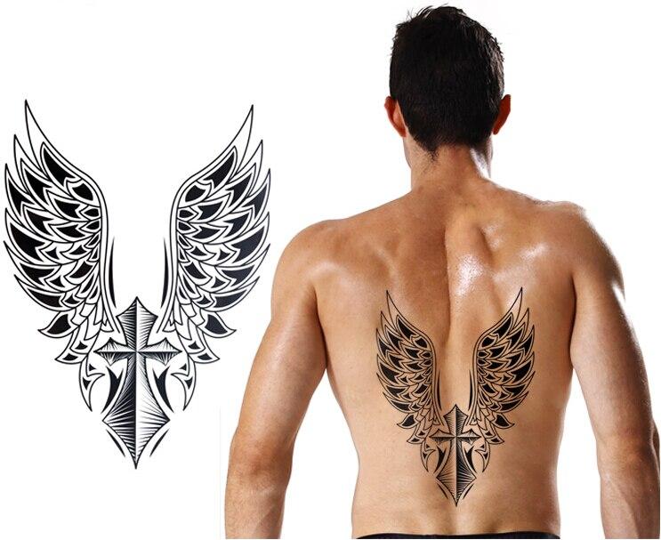 2 stücke 21,5x30,5 cm Große Temporäre tattoo aufkleber große wasserdichte 3D Crosee Flügel zurück tattoos männer körperkunst