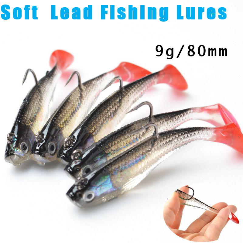 5Pcs/Lot 3D Eyes Lead Fishing Lures With T Tail Soft Fishing Lure Single Hook Baits Artificial Bait Jig Wobblers Rubber 80mm/9g