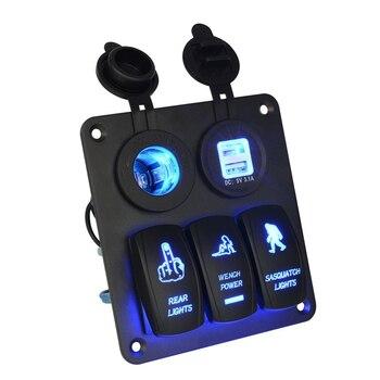 12V 24V 3 Gang Interruttore A Bilanciere Circuito del Pannello di LED Blu Luce Per Auto per Barche Marine|Switch e relè per auto|   - Car-Vastifre Store