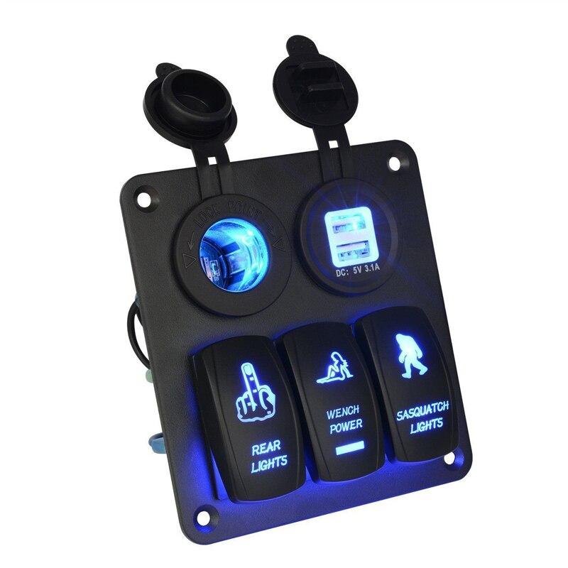 12V 24V 3 Gang Rocker Switch Panel Circuit Blue LED Light For Car Marine Boat