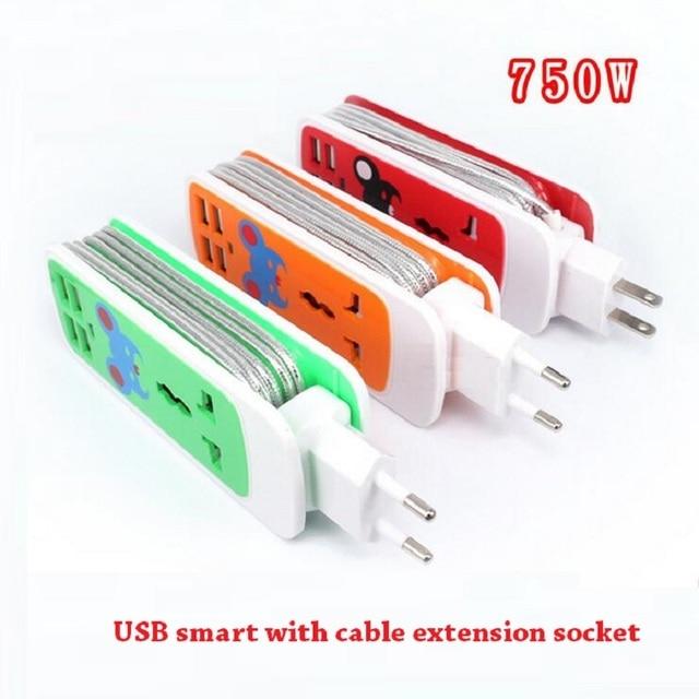 """הארכת שקע ארה""""ב AU האיחוד האירופי Plug נייד לשקע נסיעות מתאם כוח רצועת חכם שקע 4 USB מטען יציאות עבור טלפון"""