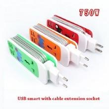 Erweiterung Sockel US AU Eu stecker Outlet Tragbare Reise Adapter Power Streifen Smart Buchse 4 USB Ladegerät ports Für Telefon