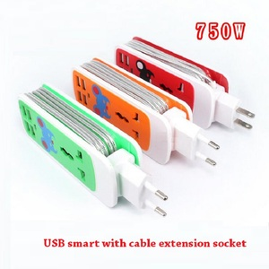 Image 1 - Extension Socket US AU EU Plug Outlet Portable Travel Adapter Power Strip Smart Socket 4 USB Charger ports For Phone