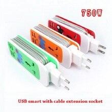 Uitbreiding Socket Us Au Eu Plug Outlet Draagbare Reizen Adapter Power Strip Smart Socket 4 Usb Lader Poorten Voor Telefoon