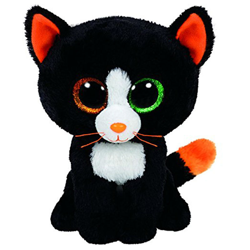Ty Beanie Boos 6 15cm Frights Black Cat Plush Stuffed Animal Doll Toy Collectible Big Eyes Puppy Dolls Toys