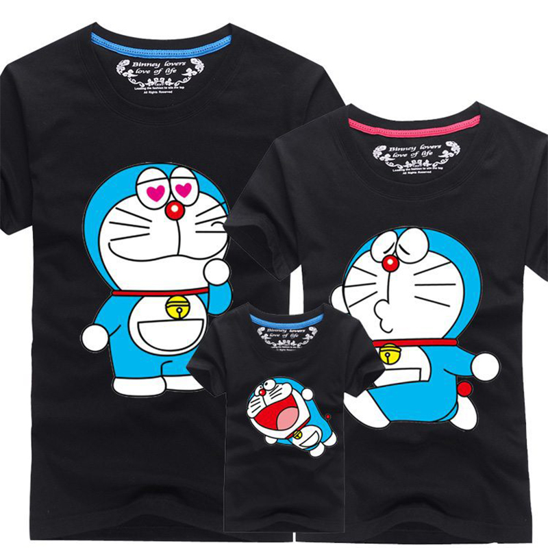 Family Matching Clothes Baby Kids Summer Cotton Short-sleeved Cartoon Doraemon T-shirt Mother Daughter Family Matching Outfits