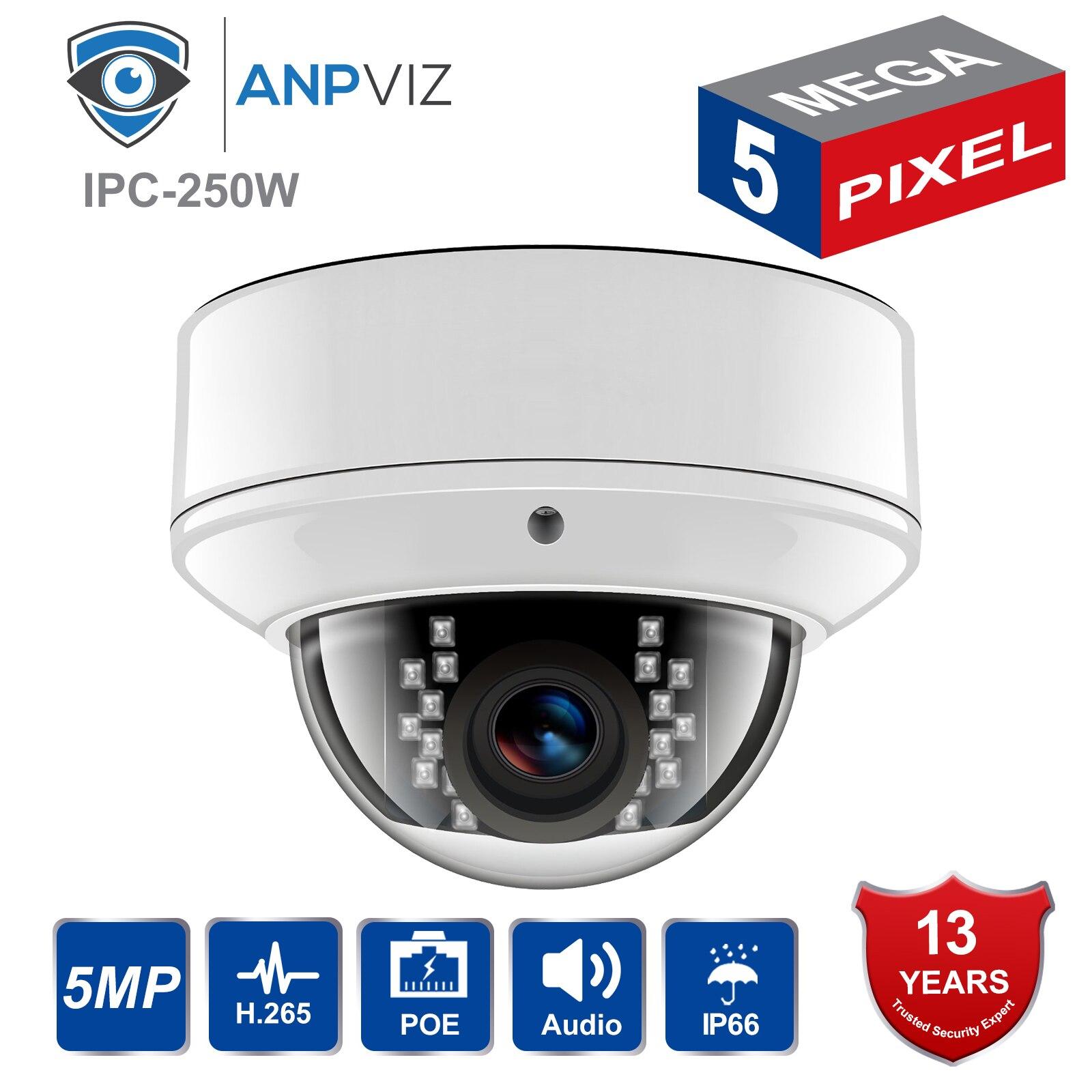 Anpviz H.265 PoE IP Camera IPC-D250W-S 5MP HD Outdoor Waterproof IR30m Night Vision Audio Dome Security Video Surveillance CamAnpviz H.265 PoE IP Camera IPC-D250W-S 5MP HD Outdoor Waterproof IR30m Night Vision Audio Dome Security Video Surveillance Cam