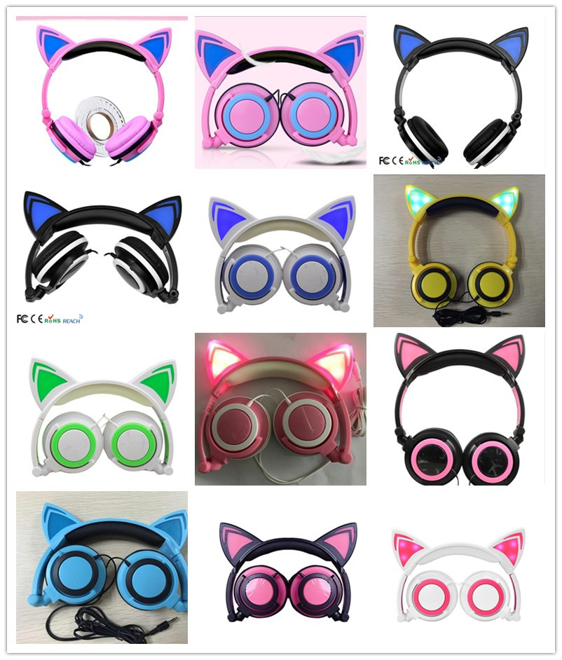 12 Colors Cartoon Cat Ears Glow Wired Folding Headset Noise Reduction Sports Headphones Is A Children Adults Can Match Computer(Hong Kong,China)