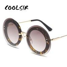 COOLSIR Rimless Glitter Sunglasses Luxury Brand Designer Women UV400 Gradient Woman Sun Glasses Shades Female Round Oculos