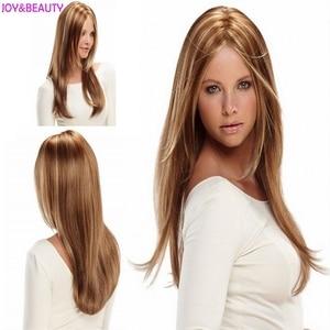 Image 4 - VREUGDE & BEAUTY Haar Vrouwen Lange Golvende Pruik Synthetisch Haar Bruin Blond Mix Hittebestendige Fiber 24 inch Lange
