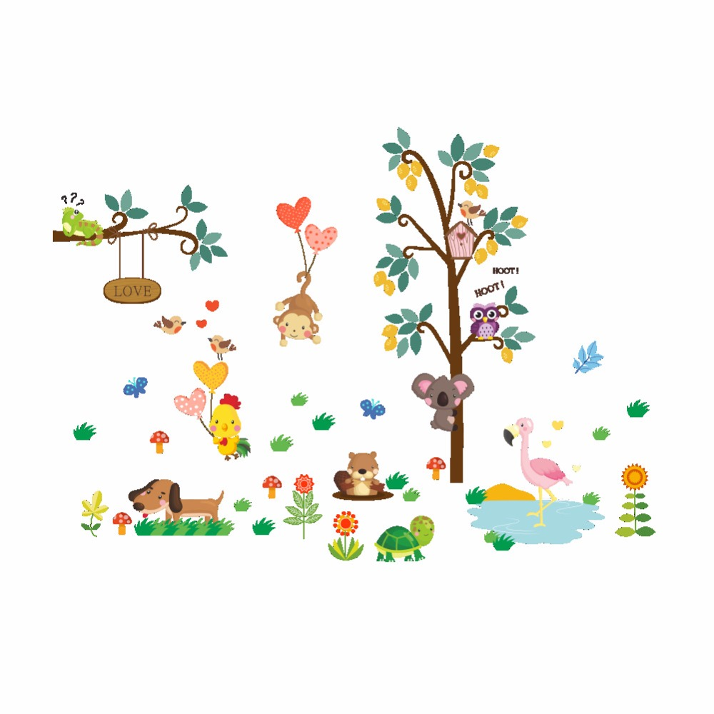 Cartoon Trees Curtains For Kids Boys Bedroom Blinds Linen: Cartoon Animals Monkey Bear Dog Owls Koala Chick Flamingo