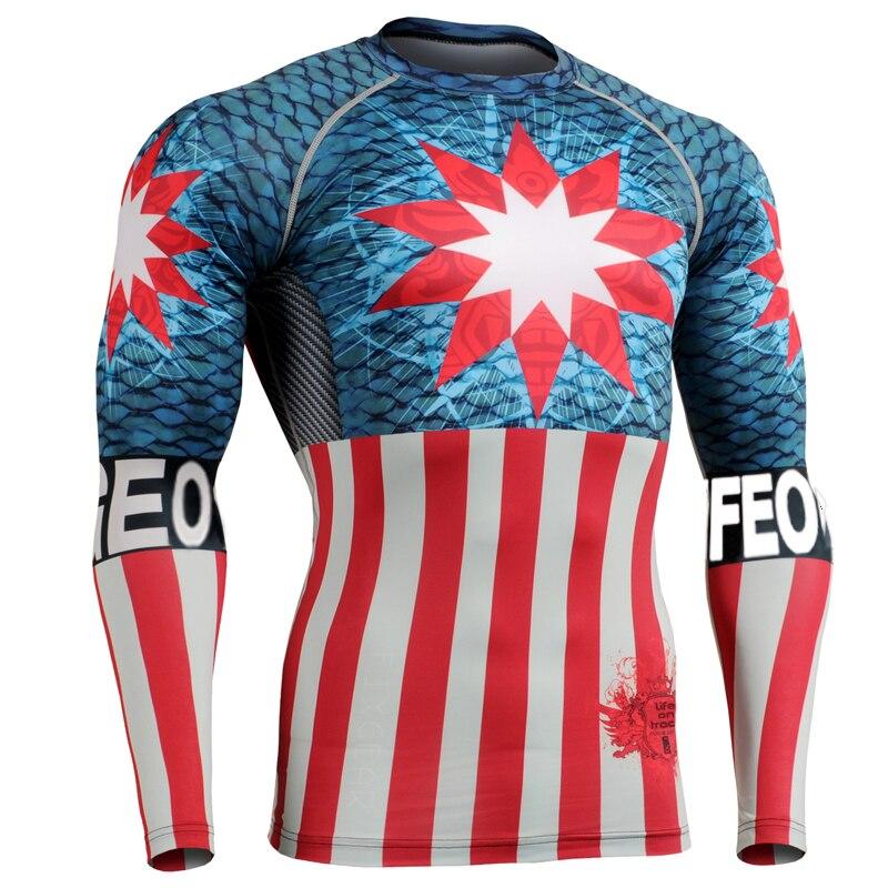 Великобритания флаг спорт clothing мужчины 3d новые печати с длинным рукавом рубашки американский флаг одежда для бокс борьба