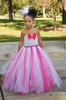 Ярко-розовый девушка социальных наряд пушистый Тюль бальный наряд цветок реквизит костюм принцессы My 1st дня рождения, выступления Платья дл...