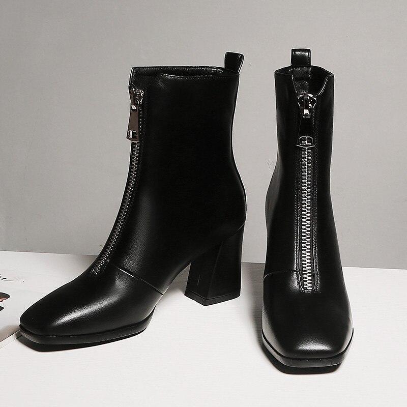 Chunky Ymechic Femelle Plus Noir Hauts Avant Chaussures Taille blanc À Zipper Carré Noir Bloc Bootie Bottes Cheville Blanc Talons Femmes Bout rUq7rp