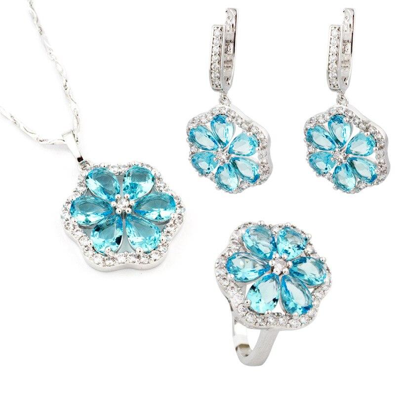 Fashion Party Women 925 Sterling Silver Set Neckalce Stud Earring Ring Set Flower Blue Topaz Ladies Jewelry Sets Christmas gift
