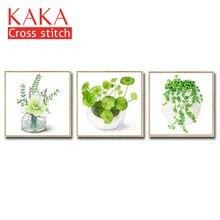 Cross stitch ชุดเย็บปักถักร้อยชุด DMC 11CT ผ้าใบพิมพ์สำหรับตกแต่งบ้านภาพวาด, ดอกไม้ CKF0065