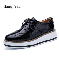 Women Shoes Genuine Leather Casual Oxford Flat Shoes Platform Woman Walking 2017 Autumn Fashion Lace Up