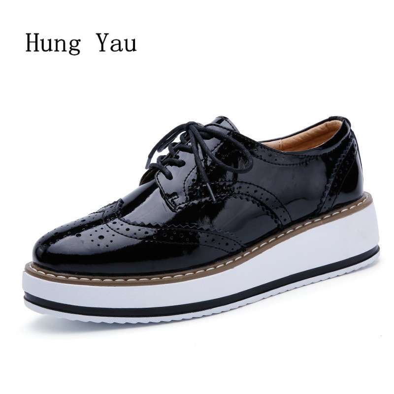 Women Shoes Genuine Leather Casual Oxford Flat Shoes Platform Woman Walking 2018 Autumn Fashion Lace Up Low Heeled Skid e lov women casual walking shoes graffiti aries horoscope canvas shoe low top flat oxford shoes for couples lovers