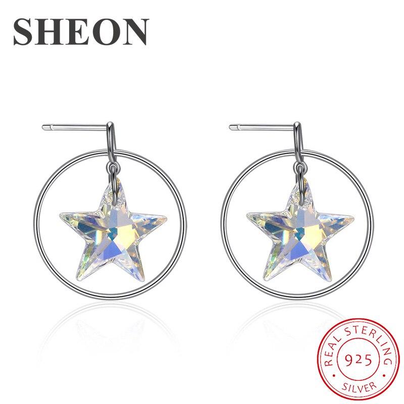 SHEON 925 Sterling Silver Hoop Earrings Luxury Star Crystal Fine Women Wedding & Engagement Jewelry Dropshipping