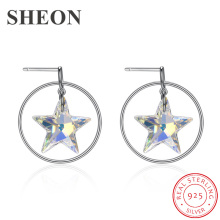 SHEON 925 Sterling Silver Hoop Earrings Luxury Star Crystal Fine Women Wedding & Engagement Jewelry Dropshipping