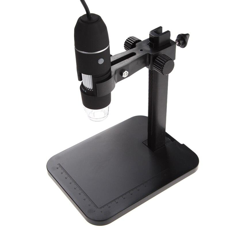 Microscopio Digital USB 1000X800X8 LED 2MP microscopio Digital endoscopio lupa Cámara + soporte de elevación + regla de calibración