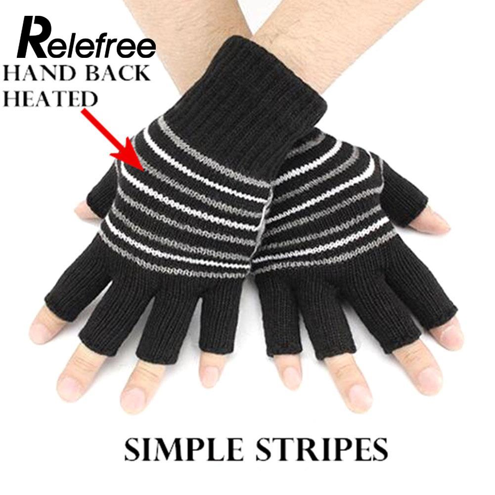 1 Pairs Skiing Gloves Knitted Heating Gloves Battery -5236