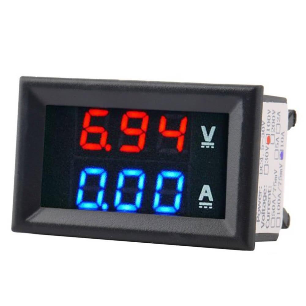4 Bit Digital Voltmeter Ammeter 200V10A Red Blue LED Dual Display Voltage thermometer Amp Panel Meter Car Current Monitor Tester