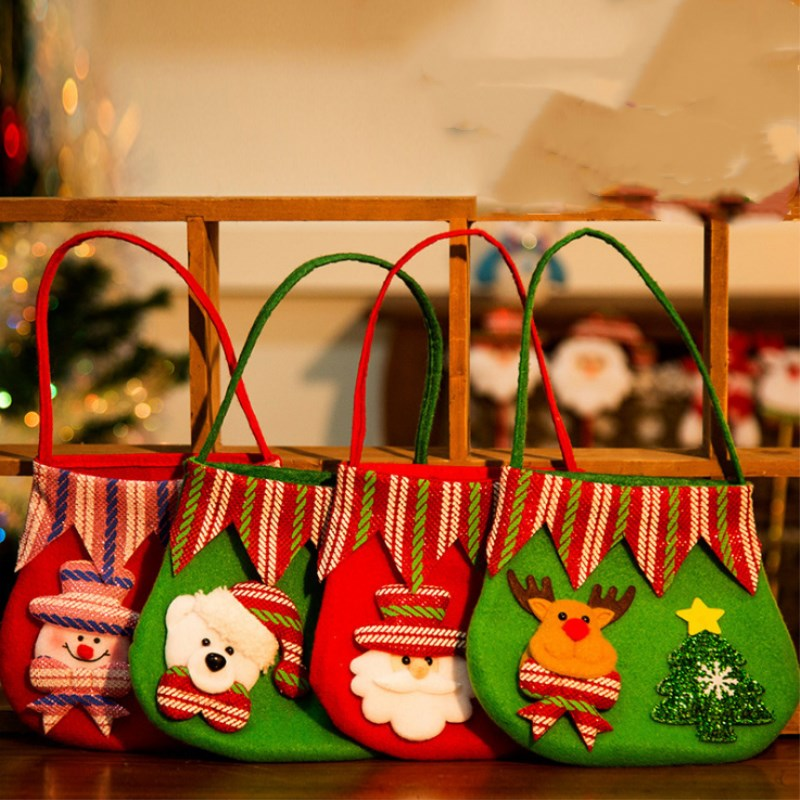 Christmas Decorations Gift Bag Non-woven Old Man Snowman Tote Small Candy