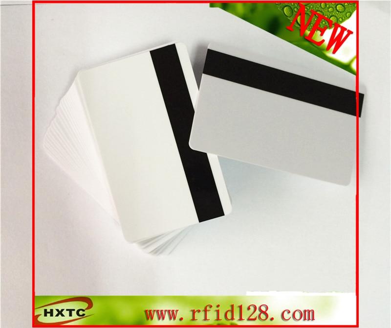 Free Shipping 100PCS/Lot Blank White PVC Hico 1-3 stripe Plastic Card Magstrip cards