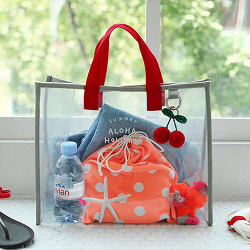 Women Waterproof Transparent Carrying Beach Bag PVC Wash Case Portable Handing Pocket Travel Storage Pouch
