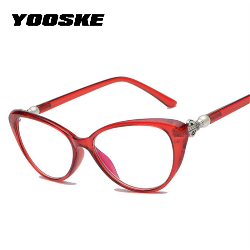 YOOSKE Women Cat Eye Reading Glasses Fashion Elegant Hyperopia Prescription Glasses Ultra Light Blue Film Resin Reading Glasses