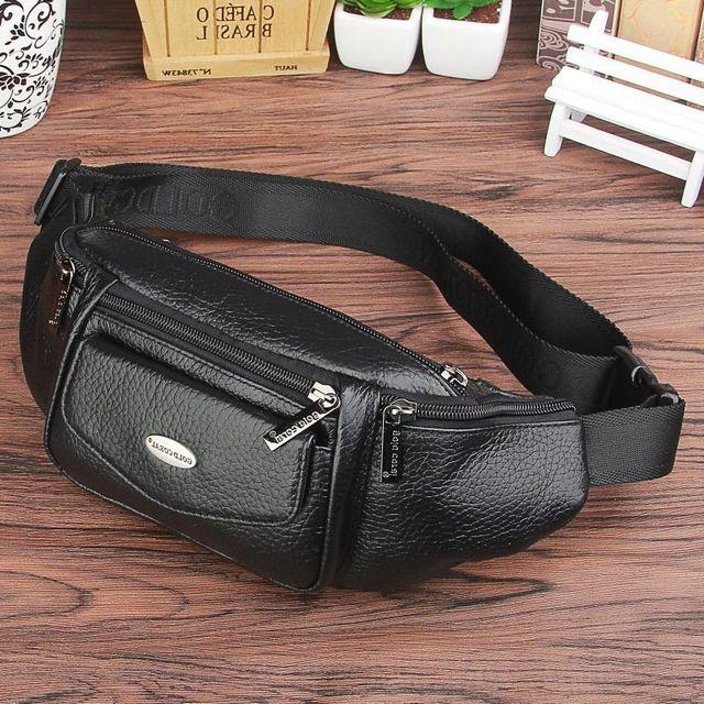 VENDA QUENTE 2016 Novo design de moda da marca de couro genuíno café preto saco Da Cintura sacos de homens mensageiro sacos de ombro