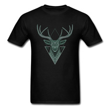 Dark Elk Geometric Triangle Mysterious Drawing Tshirt 3D Printed 100% Cotton Crew Neck Men T-Shirt Party T Shirts Custom Gift crew neck inverted triangle color block panel t shirt