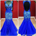 Shining 2015 Mermaid Evening Gowns Backless Beaded Crystals Long Royal Blue Tulle Celebrity Dresses Prom Dress Custom Made