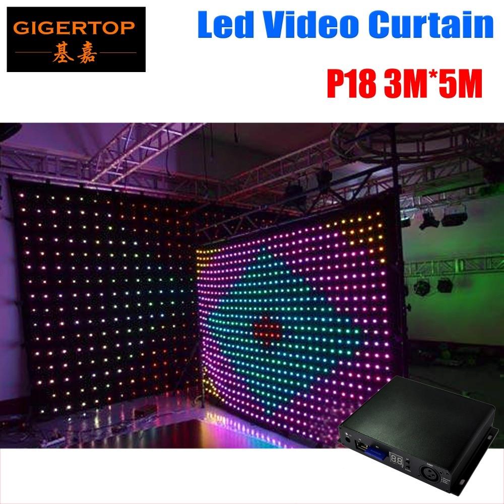 TIPTOP P18 3M * 5M LED վիդեո վարագույրը Off Line Controller- ի համար DJ հարսանիքի ֆոնի վրա Եռագույն գույնի վարագույրով ֆոնային լույս