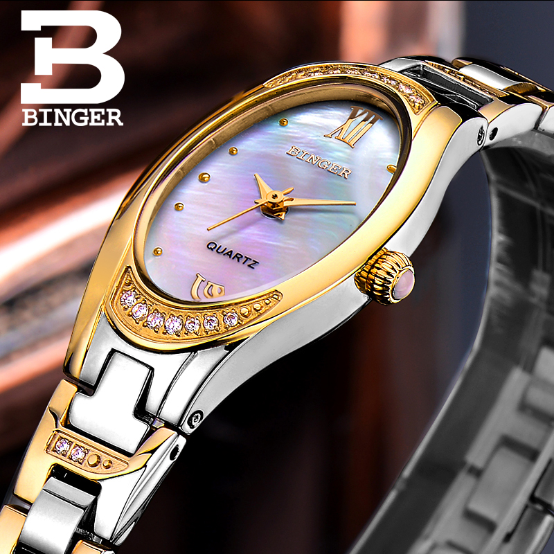 BINGER Watches Women 2017 Fashion Slim Quartz Diamond Watch Elegant Dress Watch Relogio Feminino Clock Montre
