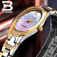 BINGER Montres Femmes 2017 Mode Mince Quartz Diamant Montre Élégante Robe Montre Relogio Feminino Horloge Montre Femme B-3022L