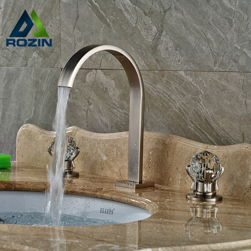 цена на Brushed Nickel Bathroom Cristal Handles Basin Sink Faucet Bathroom Vessel Sink Mixer Taps Deck Mount