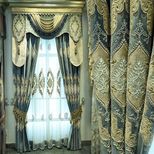 Custom curtains luxury upscale Italy embroidery curtain bedroom ...