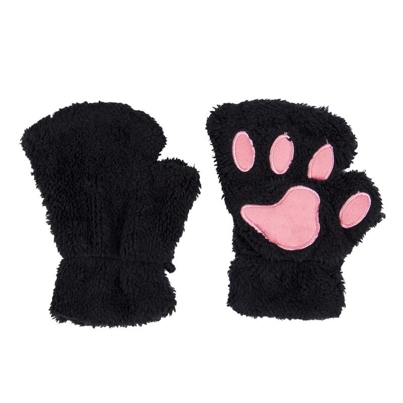 Модные зимние женские милые плюшевые варежки с когтями и лапами, Короткие повседневные однотонные перчатки без пальцев, полуперчатки одного размера для девочек